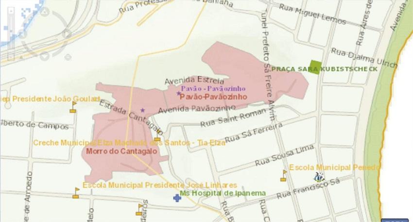 f97cd7a34ad0d Figura 12. Trecho do mapa da Sabren onde ficam localizadas as favelas  Cantagalo e Pavão-Pavãozinho. Figure 12. Part of Sabren s map where the  Cantagalo and ...