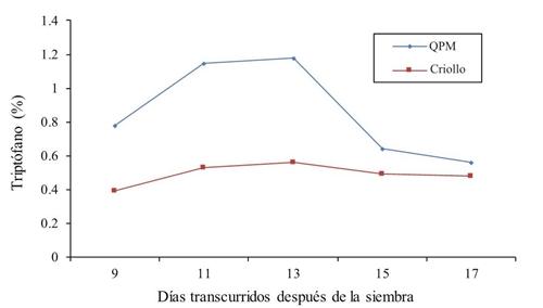 Teneur en tryptophane dans le fourrage de maïs QPM et Criollo à travers différents prélèvements en 2014.