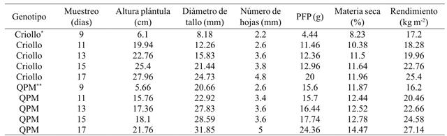 Rendement moyen de fourrage vert et ses composantes dans deux types de maïs sous serre à Celaya, Guanajuato, Mexique en 2014.