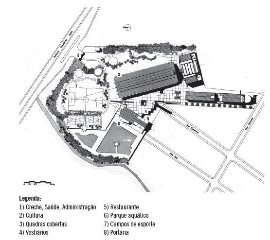 c136756959de1 FIGURA 2. Implantação SESC Nova Iguaçu, Projeto de Bruno Padovano e Hector  Vigliecca, 1985. Fonte  Vigliecca   Associados (1985).