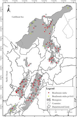 Visor redalyc orchid distribution and bioclimatic niches as a locations of basins with the presence of bioclimatic niches and complementary areas with p061 based on modelling of tropical dry forest tdf orchids for gumiabroncs Choice Image