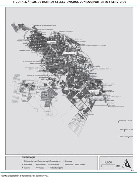 Áreas de barrios seleccionados con equipamiento y servicios elaboración  propia con datos del inegi y pdu. 4ad4a97ace8